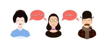 Internationale communicatie vertaalconceptenillustratie toeristen of zakenlieden of politici van Japan en stock illustratie