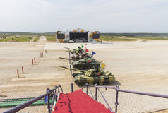 Internationale competities Tank Biathlon Stock Foto's