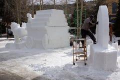 Internationale Concurrentie van het Beeldhouwwerk van de Sneeuw Stock Afbeeldingen