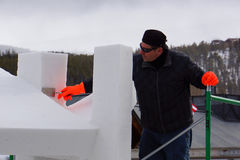 Internationale Concurrentie van het Beeldhouwwerk van de Sneeuw Stock Afbeelding