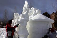 Internationale Concurrentie van het Beeldhouwwerk van de Sneeuw Stock Foto