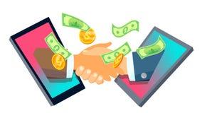 Internationale Contacten, de Vector van Zakenmanshaking hands from Smartphones Geïsoleerdeo illustratie stock illustratie