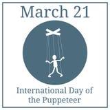 Internationale Dag van de Poppenkastspeler marionettenpictogram Het concept beheer, manipulatie Vector illustratie voor uw zoet w royalty-vrije illustratie