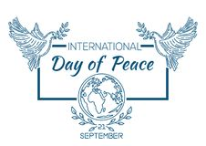 Internationale Dag van het ontwerp van het Vredesembleem Stock Fotografie