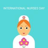 Internationale dag van het verpleegstersconcept met illustratie van mooie beeldverhaalverpleegster Stock Afbeelding
