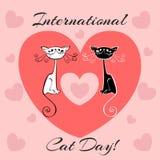 Internationale dag van katten De kaart van de vakantie Witte en zwarte katten Beeldverhaal-stijl Grappige grappige katjes Katten` vector illustratie