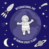 Internationale dag van menselijke ruimtevlucht Vectorillustratie voor vieringsontwerp stock afbeeldingen