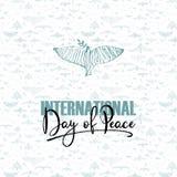 Internationale Dag van Vrede Duif en hand geschreven tekst op patroon met vogels Vectorillustratie, ontwerpelement voor Royalty-vrije Stock Foto's
