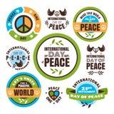 Internationale Dag van Vredesetiketten Royalty-vrije Stock Foto's