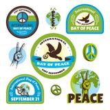 Internationale Dag van Vredesetiketten Stock Foto