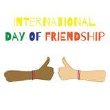 Internationale dag van vriendschap Vector illustratie Stock Afbeeldingen