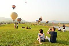Internationale de Ballonfiesta van het Singhapark, Thailand Royalty-vrije Stock Afbeeldingen
