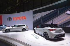 Internationale de Motorshow van 89ste Genève - het Sport Hybrid van Toytota Corolla gr. royalty-vrije stock foto
