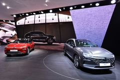 Internationale de Motorshow 2018 van 88ste Genève - Hyundai-tribunemening stock foto's