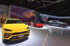 Internationale de Motorshow 2018 van 88ste Genève - Lamborghini-tribune stock afbeelding