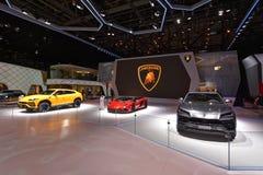 Internationale de Motorshow 2018 van 88ste Genève - Lamborghini-tribune royalty-vrije stock foto's