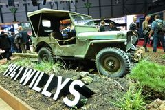 Internationale de Motorshow van 88ste Genève 2018 - 1941 Willys stock afbeeldingen