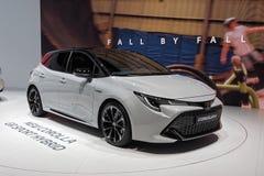 Internationale de Motorshow van 89ste Gen?ve - het Sport Hybrid van Toytota Corolla gr. stock afbeelding
