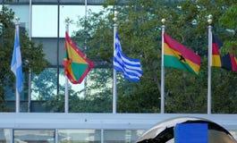 Internationale Flaggen in der Front des Hauptsitzes der Vereinten Nationen in New York Lizenzfreie Stockfotografie