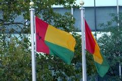 Internationale Flaggen in der Front des Hauptsitzes der Vereinten Nationen in New York Lizenzfreie Stockfotos