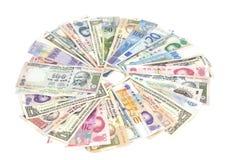 Internationale geïsoleerde munten Stock Fotografie