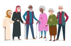 Internationale gelukkige oude mensen De bejaarde vectorillustratie van Afro-Amerikanen, van moslims en van Kaukasiërs stock illustratie