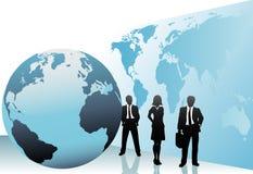 Internationale Geschäftsleute Weltkarten-Kugel Stockfotos