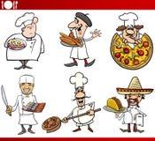 Internationale Küchechefkarikaturen Stockbild