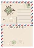 Uitstekende die envelop met wereldkaart van oriëntatiepunten wordt gemaakt Stock Afbeelding