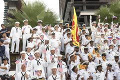 19 11 2017 internationale Marine-, internationale Flottenbericht asean-` s 50 Jahrestagsparade 2017 in Pattaya, Thailand Lizenzfreie Stockfotos