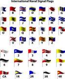Internationale Marinesignal-Markierungsfahnen Stockbilder