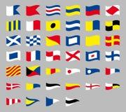Internationale maritieme signaal zeevaart golvende die vlaggen, op grijze achtergrond worden geïsoleerd stock illustratie