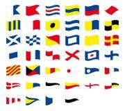 Internationale maritieme signaal zeevaart golvende die vlaggen, op witte achtergrond worden geïsoleerd vector illustratie