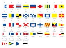 Internationale maritieme signaal zeevaartdievlaggen, morse-alfabet op witte achtergrond wordt geïsoleerd royalty-vrije illustratie