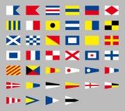 Internationale maritieme signaal zeevaartvlaggen, die op grijze achtergrond worden geïsoleerd vector illustratie