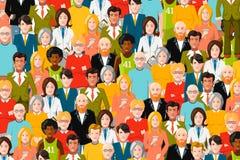 Internationale menigte van mensen, vlakke illustratie Royalty-vrije Stock Foto