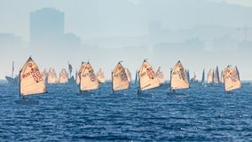29. INTERNATIONALE PALAMOS-OPTIMIST-TROPHÄE 2018, 13. NATIONS-SCHALE, am 15. Februar 2018, Stadt Palamos, Spanien Lizenzfreies Stockfoto