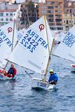 29. INTERNATIONALE PALAMOS-OPTIMIST-TROPHÄE 2018, 13. NATIONS-SCHALE, am 16. Februar 2018, Stadt Palamos, Spanien Lizenzfreies Stockfoto