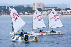 29. INTERNATIONALE PALAMOS-OPTIMIST-TROPHÄE 2018, 13. NATIONS-SCHALE, am 16. Februar 2018, Stadt Palamos, Spanien Stockfotos