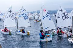 29. INTERNATIONALE PALAMOS-OPTIMIST-TROPHÄE 2018, 13. NATIONS-SCHALE, am 16. Februar 2018, Stadt Palamos, Spanien Stockbilder