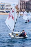 29. INTERNATIONALE PALAMOS-OPTIMIST-TROPHÄE 2018, 13. NATIONS-SCHALE, am 16. Februar 2018, Stadt Palamos, Spanien stockfoto