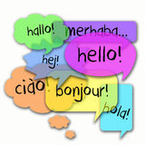 Internationale Sprachen hallo Stockfoto
