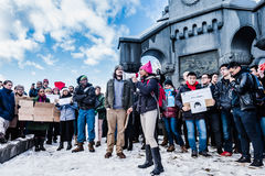 Internationale Student Troy Protest - RPI -, New York royalty-vrije stock afbeelding