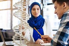 Internationale Studenten, die Genetik studieren lizenzfreie stockbilder