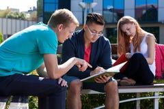 Internationale Studenten, die zusammen draußen lernen Lizenzfreie Stockfotos