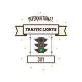 Internationale verkeerslichtendag Vector illustratie Stock Fotografie