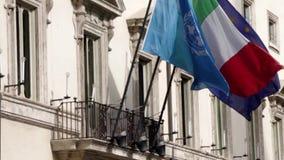 Internationale vlaggen stock footage