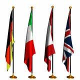 Internationale Vlaggen op Tribunes 1 Stock Foto's