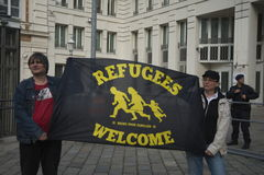 Internationale Vluchtelings dag-Europese Paraplu Maart Royalty-vrije Stock Afbeelding