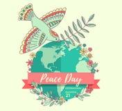 Internationale vredesdag 21 September Vredesduif met olijftak over de planeet overwoekerde bloemen Getrokken hand Royalty-vrije Stock Afbeeldingen